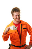 Arbeitskraft hält Spielzeug-versenden aufgebaut von einem Papier an Lizenzfreie Stockbilder