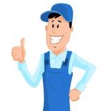 Arbeitskraft im blauen Arbeitskleidungsshowdaumen oben Stockfoto