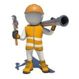Arbeitskraft im Overall, der Schlüssel und Abwasserrohr hält Stockfotos