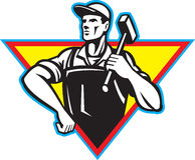 Arbeitskraft mit dem Hammer Retro- Lizenzfreie Stockbilder