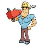 Arbeitskraft mit einem Jackhammer stockbilder