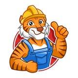 Arbeitskraft-Tigermaskottchen-Charakterdesign Stockfotografie
