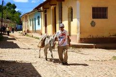 Arbeitskraft und Esel, bunte kubanische Nachbarschaft Stockfotografie