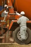Arbeitskraft und LKW Stockfotografie