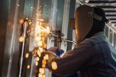 Arbeitskraft und metallschneidendes Lizenzfreies Stockfoto
