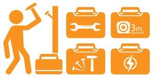 Arbeitskraft und Satzportfolio mit Werkzeugen für Reparatur Lizenzfreies Stockfoto