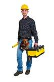 Arbeitskraft und Werkzeugkasten Lizenzfreie Stockfotos