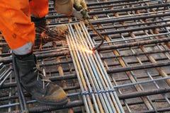 Arbeitskraftfahrwerkbein-Schweißungsmetallvergitterung Stockbild