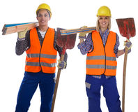 Arbeitskraftmann-Frauenjob des jungen Bauarbeiters lokalisiert Stockbilder