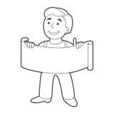 Arbeitskraftmann mit Fahne in der Karikaturart vektor abbildung