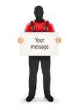 Arbeitskraftmann mit leerem Zeichen für Mitteilung in den Händen Lizenzfreie Stockfotos