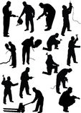 Arbeitskraftschattenbild Stockfotos