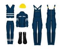 Arbeitskraftuniform, -stiefel und -Schutzhelm Lizenzfreie Stockfotografie