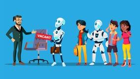 Arbeitslose Charaktere, die Interview-Vektor warten vektor abbildung