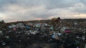 Arbeitslose obdachlose schmutzige schauende Lebensmittelabfälle des Mannes stock video footage