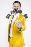 Arbeitsloser Geschäftsmann, der um Hilfe ruft lizenzfreies stockfoto