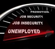 Arbeitslosigkeit - Wörter auf Geschwindigkeitsmesser Lizenzfreies Stockfoto