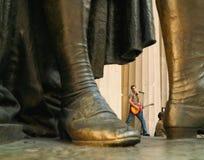 Arbeitslosigkeits-Aktivisten-Musiker Wall Street stockfotografie