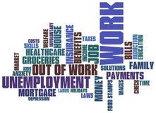 Arbeitslosigkeitswortwolke Stockfoto
