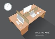 Arbeitsplatz-Arbeitsplatz-Computer-Tabellen-Perspektivenansicht modernes vecto Lizenzfreie Stockfotografie
