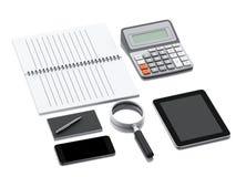 Arbeitsplatz des Büros 3d mit Laptop-PC Stockbild