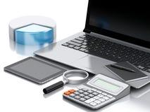 Arbeitsplatz des Büros 3d mit Laptop-PC Stockfotografie