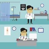 Arbeitsplatz des Doktors Stockbild