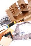 Arbeitsplatz des Entwerfers Stockbilder