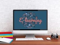 Arbeitsplatz des Studenten 3d mit Computer lizenzfreie abbildung