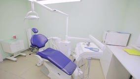 Arbeitsplatz des Zahnarztes With Dental Unit stock footage
