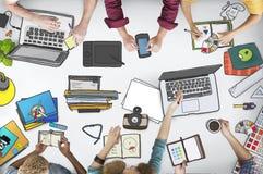 Arbeitsplatz-Draufsicht-Tischplattennotizbuch-Schreibtisch-Konzept Lizenzfreies Stockbild