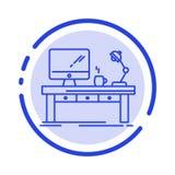 Arbeitsplatz, Geschäft, Computer, Schreibtisch, Lampe, Büro, Linie Ikone der Tabellen-blauen punktierten Linie stock abbildung