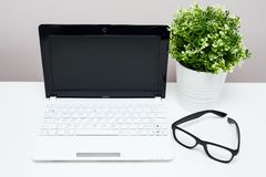 Arbeitsplatz im Haus oder im Büro - Laptop, Gläser und Anlage in Stockfotografie
