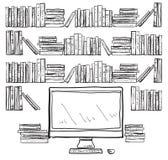 Arbeitsplatz mit Computer- und Buchregalen stock abbildung