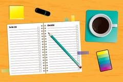 Arbeitsplatz mit einem Planer und einem Tasse Kaffee lizenzfreie abbildung