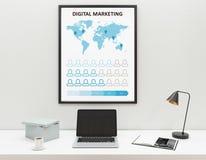 Arbeitsplatz mit Geschäftsskizze Stockbilder