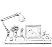 Arbeitsplatz mit Laptop, Notizbuch, Tablette Innenskizze vektor abbildung
