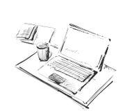 Arbeitsplatz mit Laptop, Notizbuch, Tablette und Tasse Kaffee vector gezogene Illustration vektor abbildung