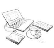 Arbeitsplatz mit Laptop, Notizbuch und Tasse Kaffee lizenzfreie abbildung