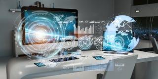 Arbeitsplatz mit modernen Geräten und Hologramm sortiert Wiedergabe 3D aus lizenzfreie abbildung