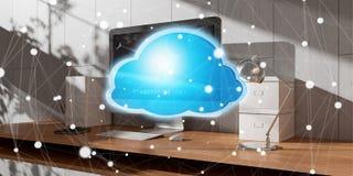 Arbeitsplatz mit moderner Wiedergabe der Hologrammwolkenikone 3D Stockbild
