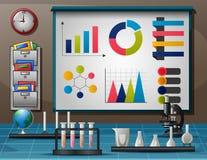 Arbeitsplatz mit Tabelle voll von Instrumenten f?r wissenschaftliches Experiment lizenzfreie abbildung