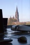 Arbeitsplatz mit wundervoller Ansicht Lizenzfreie Stockfotografie