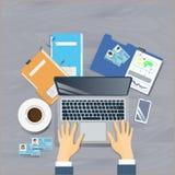 Arbeitsplatz-Spitzenwinkelsicht-Konzept-Geschäftsmann Sit At Office vektor abbildung
