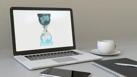 Arbeitsplatz und Laptop mit Wikileaks-Logo auf dem Schirm Begriffsanimation des leitartikels 3D lizenzfreie abbildung