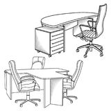 Arbeitsplatzinnenraumskizze Lizenzfreie Stockbilder