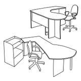 Arbeitsplatzinnenraumskizze Stockfoto