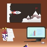 Arbeitsplatzschreibtischwohnzimmer und moderner Bürohintergrundinnenraum vektor abbildung