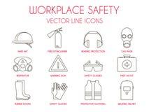 Arbeitsplatzsicherheit und dünne Linie Ikonen der persönlichen Schutzausrüstung eingestellt Lizenzfreie Stockfotografie