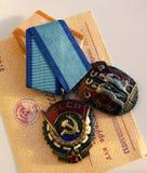 Arbeitspreise der UDSSR ` Ausweis von Ehre- ` und ` rote Fahne von Arbeits-` Lizenzfreies Stockfoto